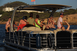 """Chill Out"" Day Cruise (Pontoon boat) - Timeless Boats Ibiza, best boat rental in Ibiza. Voted No1 Sunset Cruise"