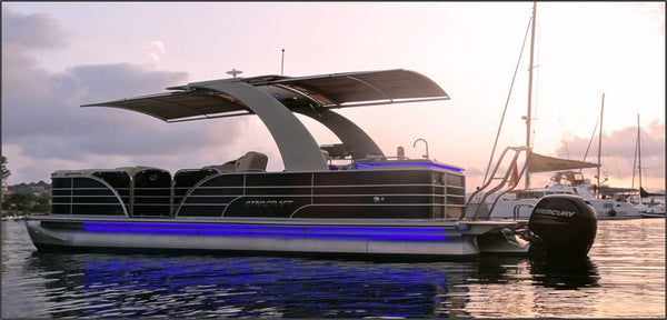 Sunset Deluxe (Pontoon Boat) - Timeless Boats Ibiza, best boat rental in Ibiza. Voted No1 Sunset Cruise