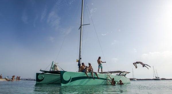 Solar Catamaran - Timeless Boats Ibiza, best boat rental in Ibiza. Voted No1 Sunset Cruise