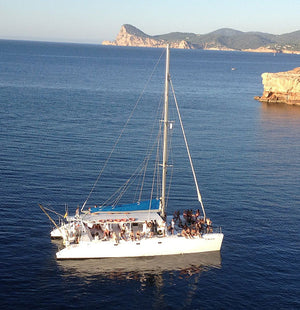 Passion Cat Catamaran up top 60ppl - Timeless Boats Ibiza, best boat rental in Ibiza. Voted No1 Sunset Cruise