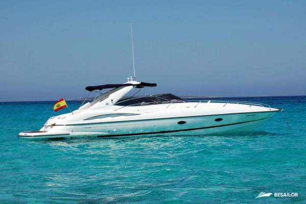 sunseeker 34' (Full Day Cruise) - Timeless Boats Ibiza, best boat rental in Ibiza. Voted No1 Sunset Cruise