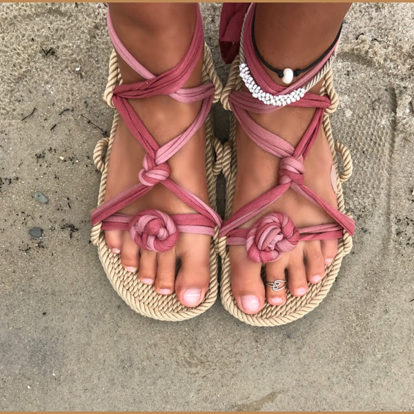 Natural Lace Rope Sandals