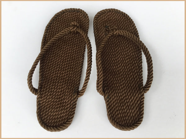 Women's Brown Rope Flip Flops