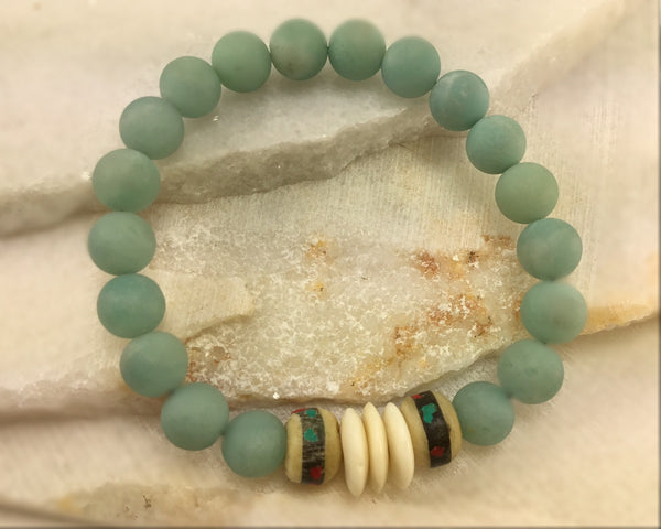 Amazonite and Yak Bone Mala