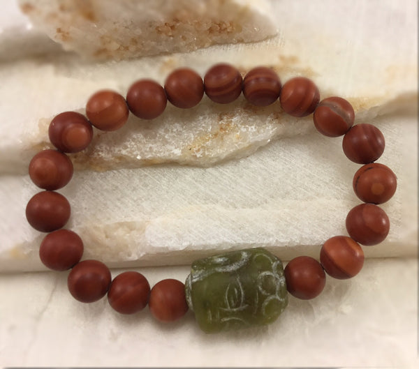 "Red ""Malachite"" Marble Mala with Carved Jade Buddha"