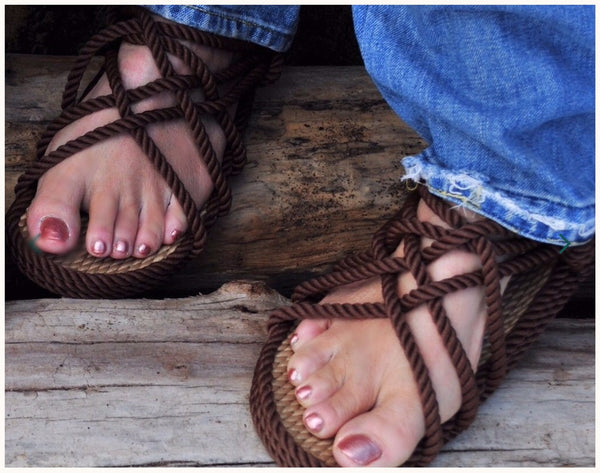 Women's Brown Two-Tone Sandals