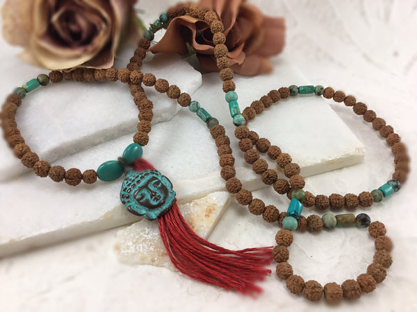 Traditional 108 Rudraksha and Turquoise Mala Necklace