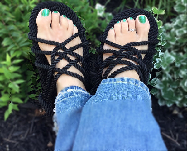 Women's Black Rope Sandals
