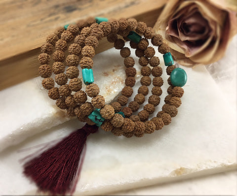 Traditional 108 Rudraksha and Turquoise Wrap Mala