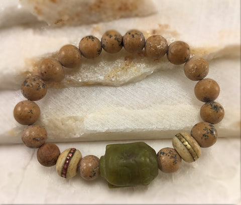 Grainstone Mala with Carved Jade Buddha