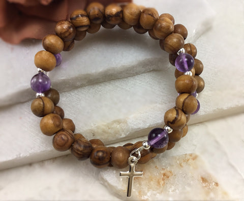 Amethyst and Olive Wood Wrap Rosary