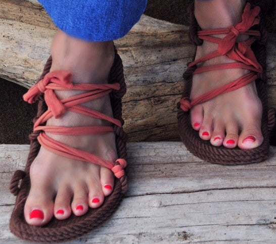 Brown Lace Rope Sandals