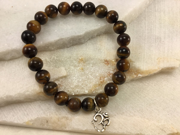 Tiger Eye Mala with Sterling Om