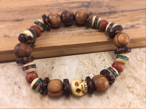 Men's Yak Bone Skull Bracelet