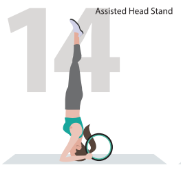 assisted head stand wheel yoga pose