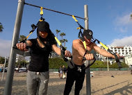 suspension trainers at the beach