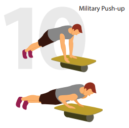 military push-ups roller board position