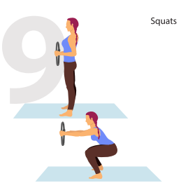 squats with pilate ring position