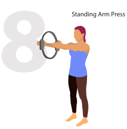 standing arm press pilate position