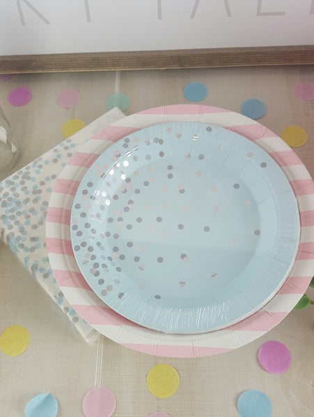 Blue Confetti Plates and Cups for Fairy Tale Princess Party