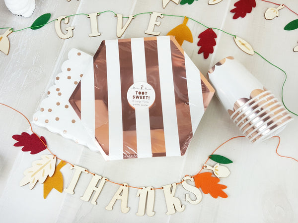 Rose Gold Thanksgiving Party Supplies and Decorations