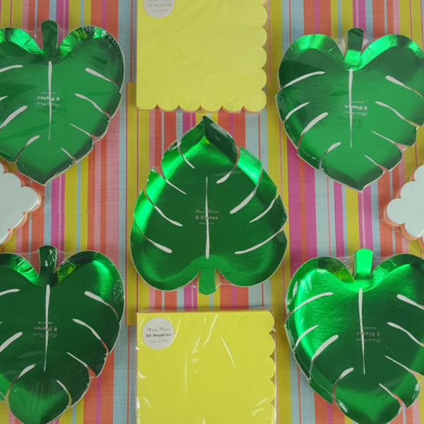 Palm Leaf Plates, Neon Large Napkins, Tropical Neon Spring Break Party
