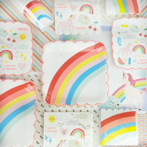 Unicorn and Rainbow Cups Plates and Napkins