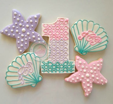 Mermaid Cookies, Teal, Lavender, and Pink