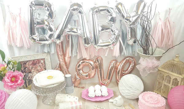 Pink and Silver Baby Shower Decorations