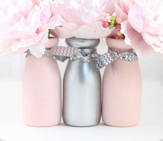 Pink and Silver Baby Shower Centerpiece