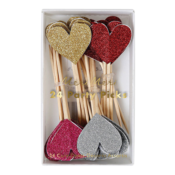 Heart Picks for Cake or Cupcake Toppers for Valentine's Day