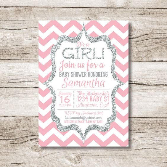 Pink and Silver Baby Shower Invitation