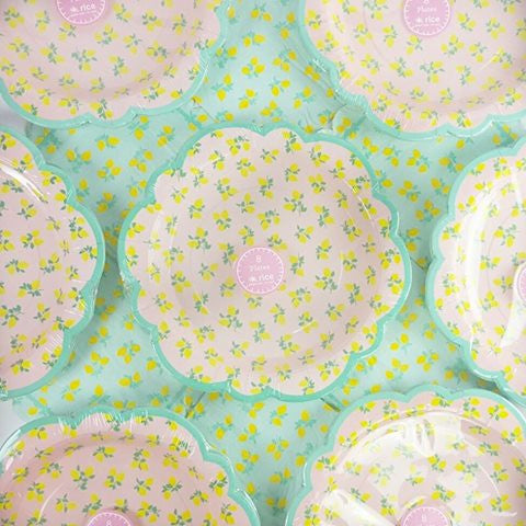 Lemon Plates and Napkins for a Pink Lemonade Party