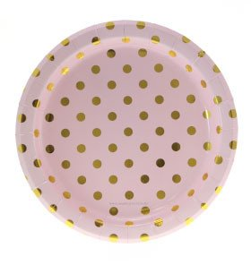 Pink and Gold Dot Plates