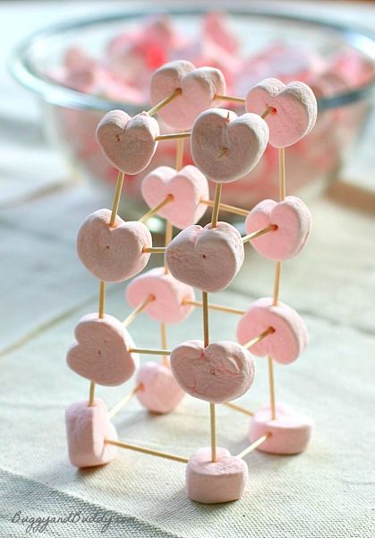 Heart Marshmallows, Toothpicks, Valentines Day Party Games