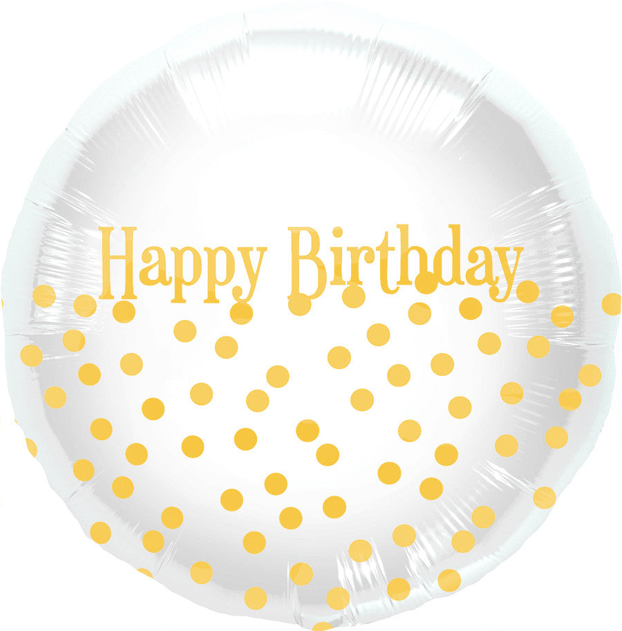Gold Dot Happy Birthday Foil Balloon