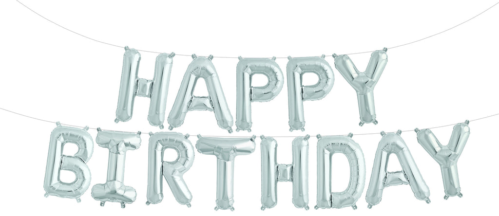 Silver Happy Birthday Balloon Banner