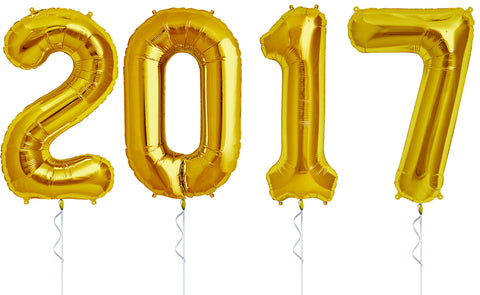 Gold Jumbo 2017 Number Balloons for New Year's or Graduation
