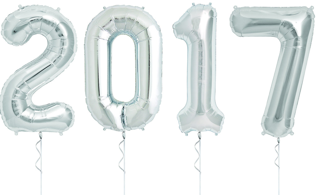 Silver Extra-Large 2017 Balloon Banner