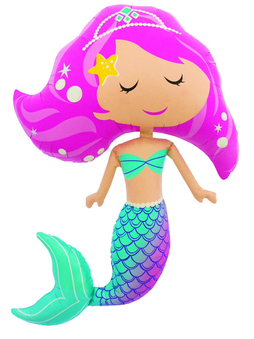 Jumbo Mermaid Balloon with Pink Hair Mermaid Birthday Party Theme