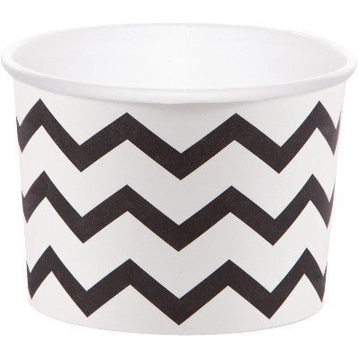 White and Black Chevron Halloween Treat Cups