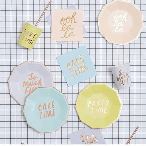 Pastel Fun Party Plates for Teenager Party or Spring Cookout
