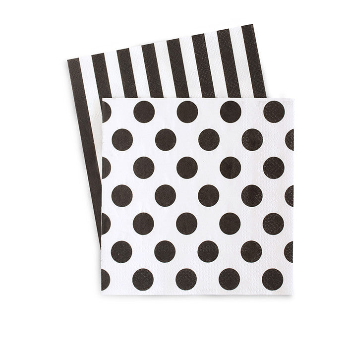 Black and White Striped and Polka Dot Napkins