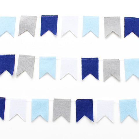 Blue and Gray Flag Garland