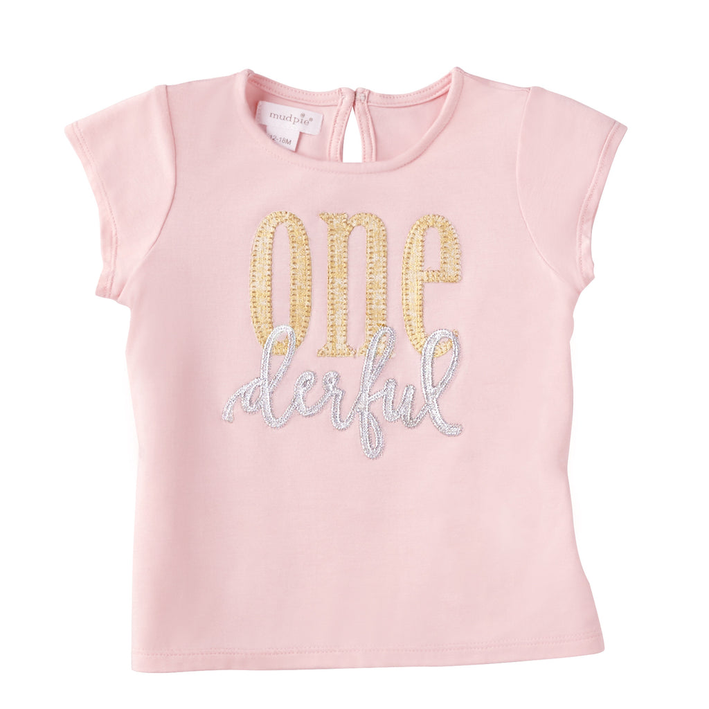 Pink and Gold First Birthday T-Shirt
