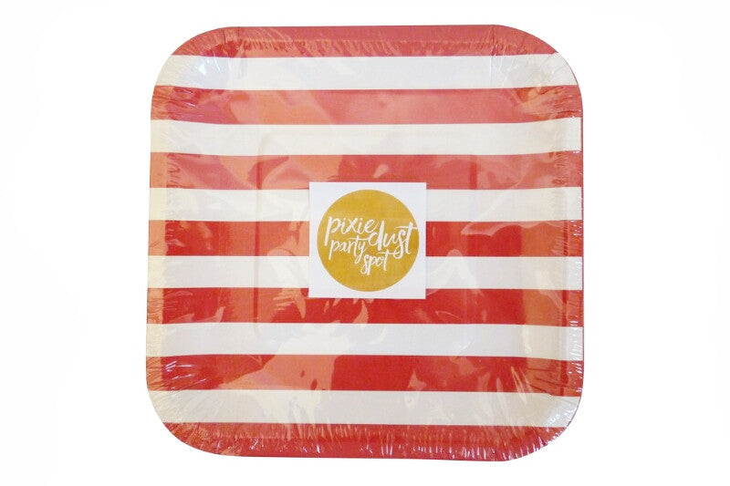 Red Striped Square Plates