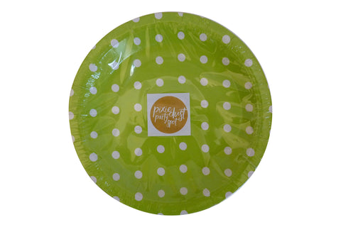 Lime Green Polka Dot Plates