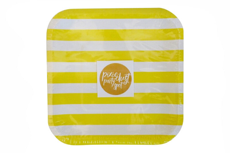 Yellow Square Striped Plates