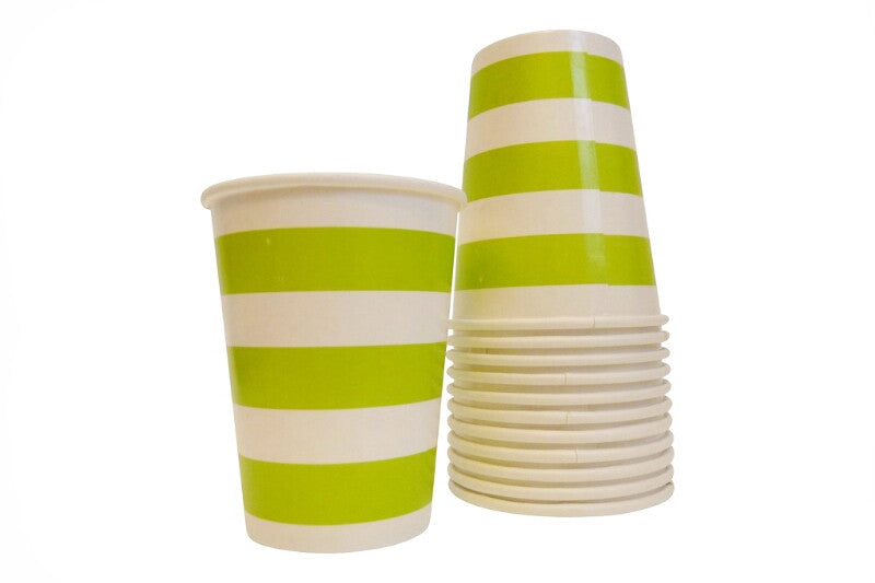 Lime Green Striped Cups