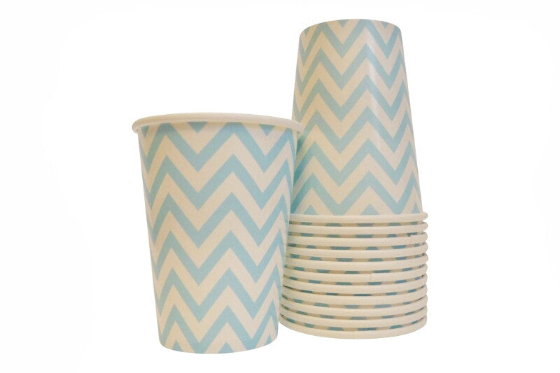 Sky Blue Chevron Cups